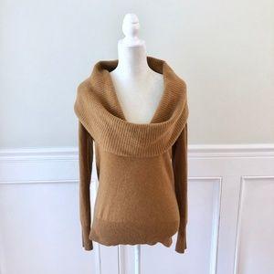 J CREW Cashmere Cascade Sweater Camel Brown Cowl S